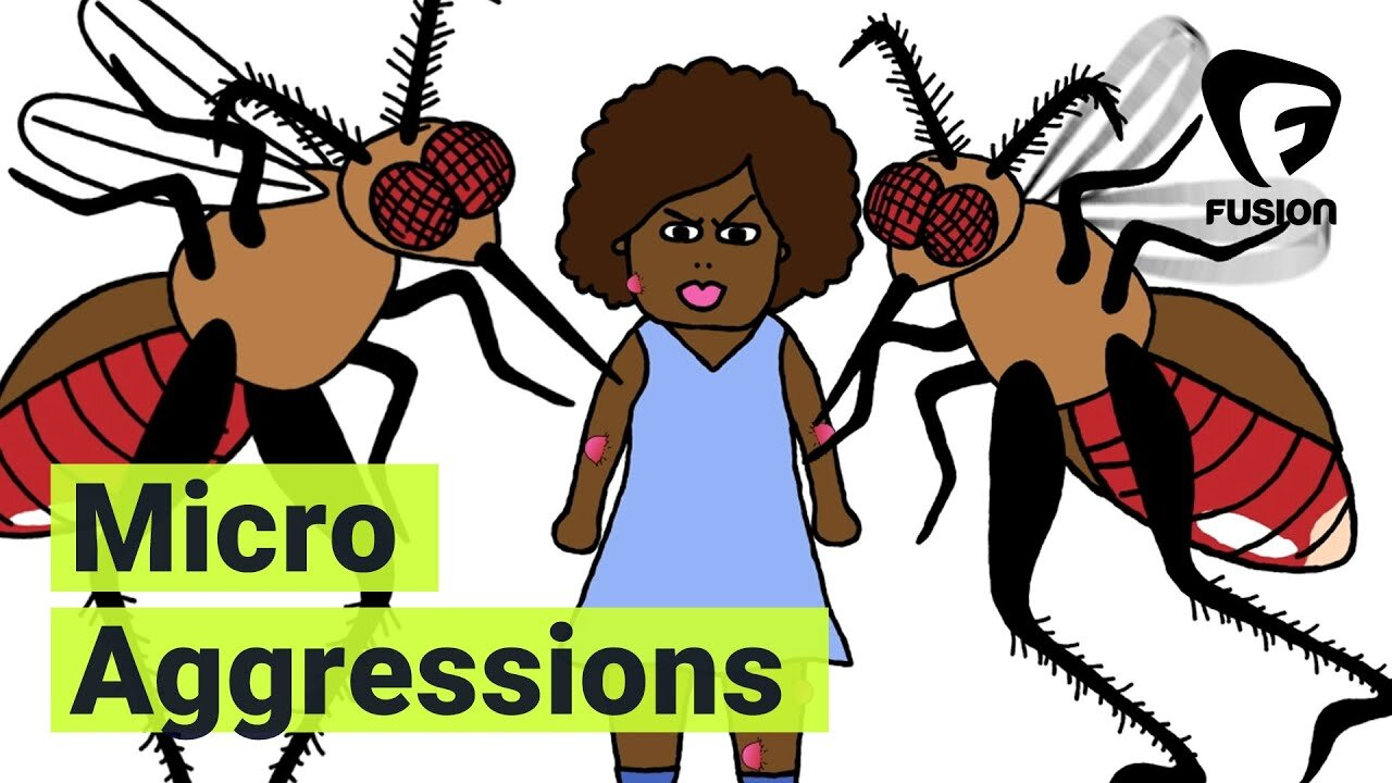 Still from the animated short   How Microaggressions Are Like Mosquito Bites   by Same Difference for Fusion Comedy.