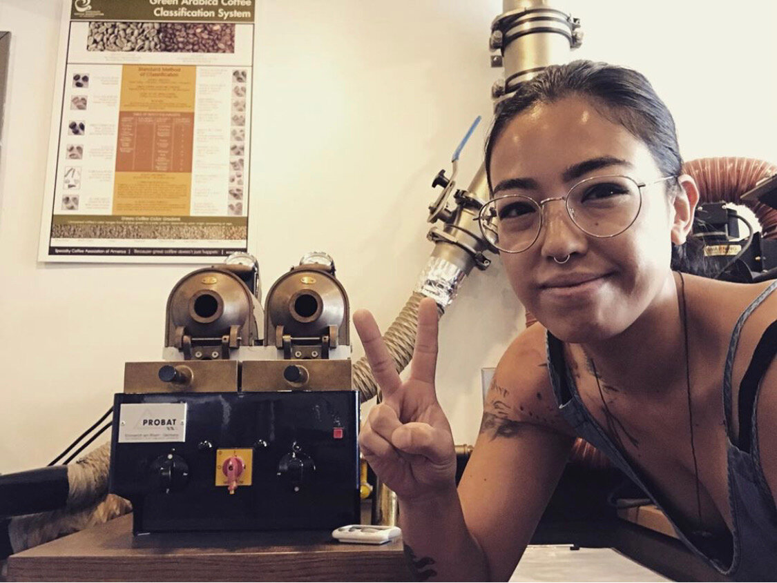 Kiana Cruz, Roaster at Progeny Coffee in Oakland, CA and Founder of Golden Hour Coffee Moto in Richmond, CA