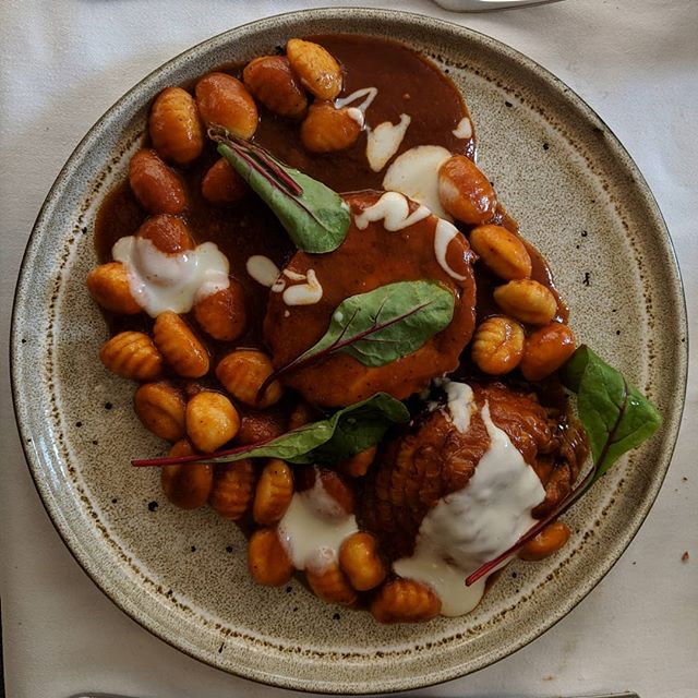 Corfu, Greece was amazing, but this traditional dish absolutely slayed me! It's rooster in a tomato sauce served over gnocchi. . . . #FoodIsSoImportant #foodporn #corfu #greece #travel #worldtravel #loveatfirstbite