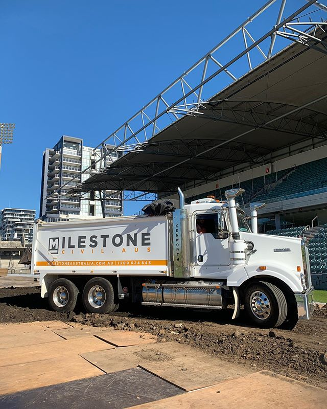 Not everyday you get to bring trucks into a stadium