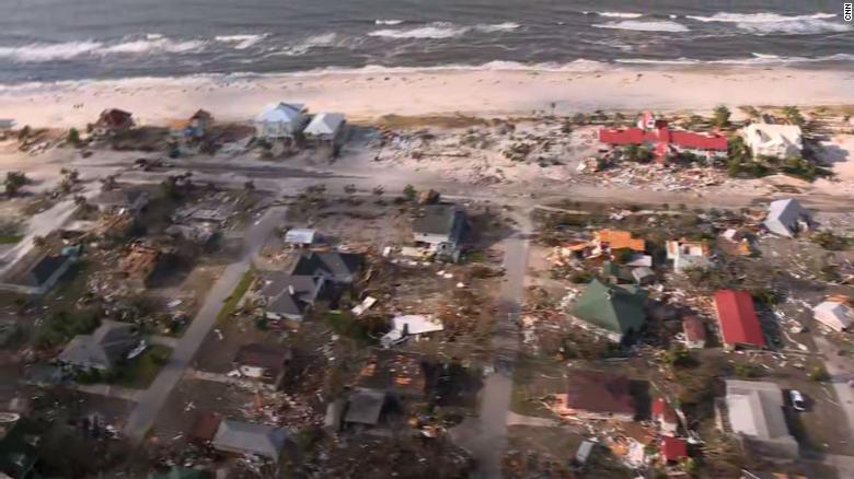 """Mexico Beach is 'wiped out' by Hurricane Michael    CNN.com      Three additional deaths have been linked to Hurricane Michael, bringing the death toll from the storm to five.  Four people have died in Gadsden County, Florida. Authorities said a man died after a tree fell on a home. The sheriff's department has not released details on the county's three other storm-related deaths.  Previously, officials in Seminole County, Georgia, said a metal carport hoisted by the wind crashed through a roof, hitting a girl's head and killing her.     What used to be a gorgeous beachfront city now looks like an apocalyptic mess after Hurricane Michael shredded Mexico Beach, Florida.  """"Mexico Beach was wiped out,"""" said Brock Long, head of the Federal Emergency Management Agency. """"That's probably ground zero."""""""