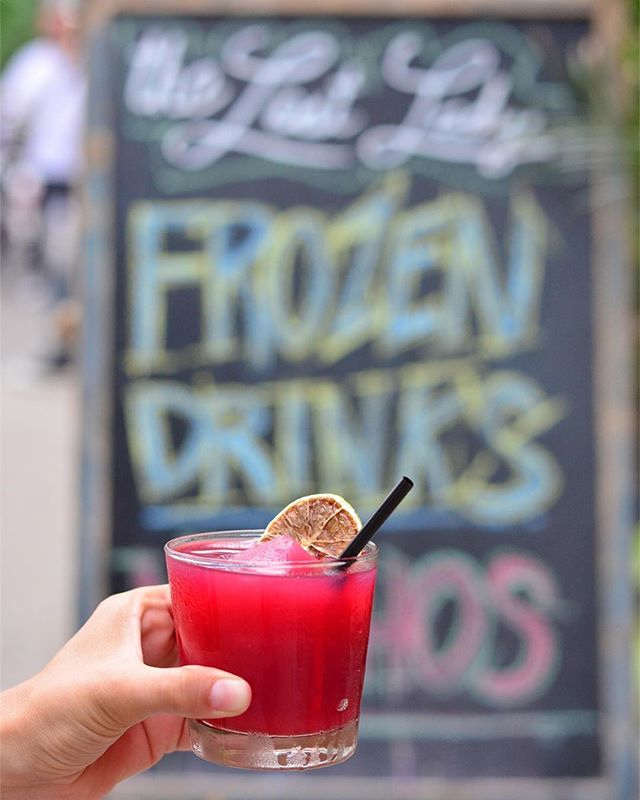 Throwback to the day I learned that @thelostladynyc has the best frozen margaritas and @kimberlyneer is the best hand model. . Frozen spiced hibiscus margarita: tequila, hibiscus, jalapeño, lime juice, agave & smoked chili salt. And they're only $8 on Tuesdays, so you should probably have four or five.