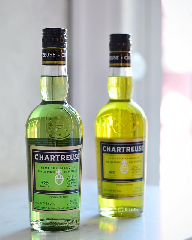You might have noticed that I'm a little obsessed with Chartreuse. (Ok, maybe more than a little.) It smells a little bit like the mingling of dried herbs from my mother's spice cabinet, and a little like bit like a magical elixir from your wildest dreams. Oh, and it tastes like heaven. . It's one of the more interesting flavors in the spirit world, and has one of the more interesting stories - it's made from a secret recipe that dates back at least 400 years, which calls for a mixture of 130 different herbs, plants, and flowers. At any given time the recipe is known to just two monks of the Carthusian order, who produce the liqueur at their distillery in the French Alps. . Recently, I wrote an article for @vinepair about Chartreuse, its history, the mysterious origin of its recipe, and the difference between green and yellow Chartreuse. (P.S. - Did you know that there once was a white Chartreuse??) It's all at the link in my bio. . FUN FACT: @mattveligdan is the only person I know who drinks Chartreuse straight, although apparently Hunter S. Thompson did the same thing, in the hot tub, to get his creative juices flowing. . FUN FACT 2: Chartreuse is one of the only liquors that continues to age in the bottle, so the longer you wait to drink it, the better it gets. But who would want to do that?