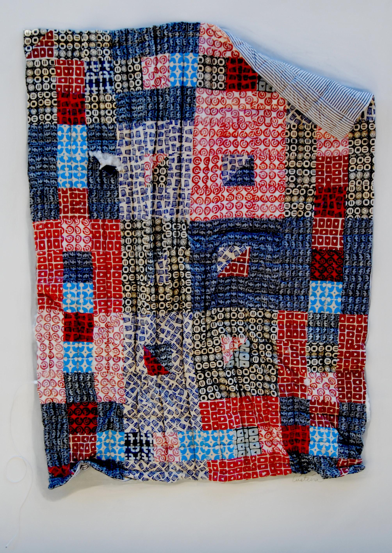 BEST FRIEND, 2017. Collage of block printed fabrics.