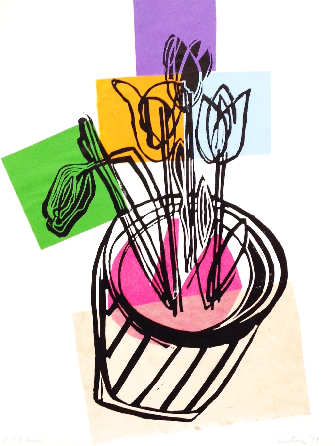 - Colour my TulipLino print and collageCristina J Doyle