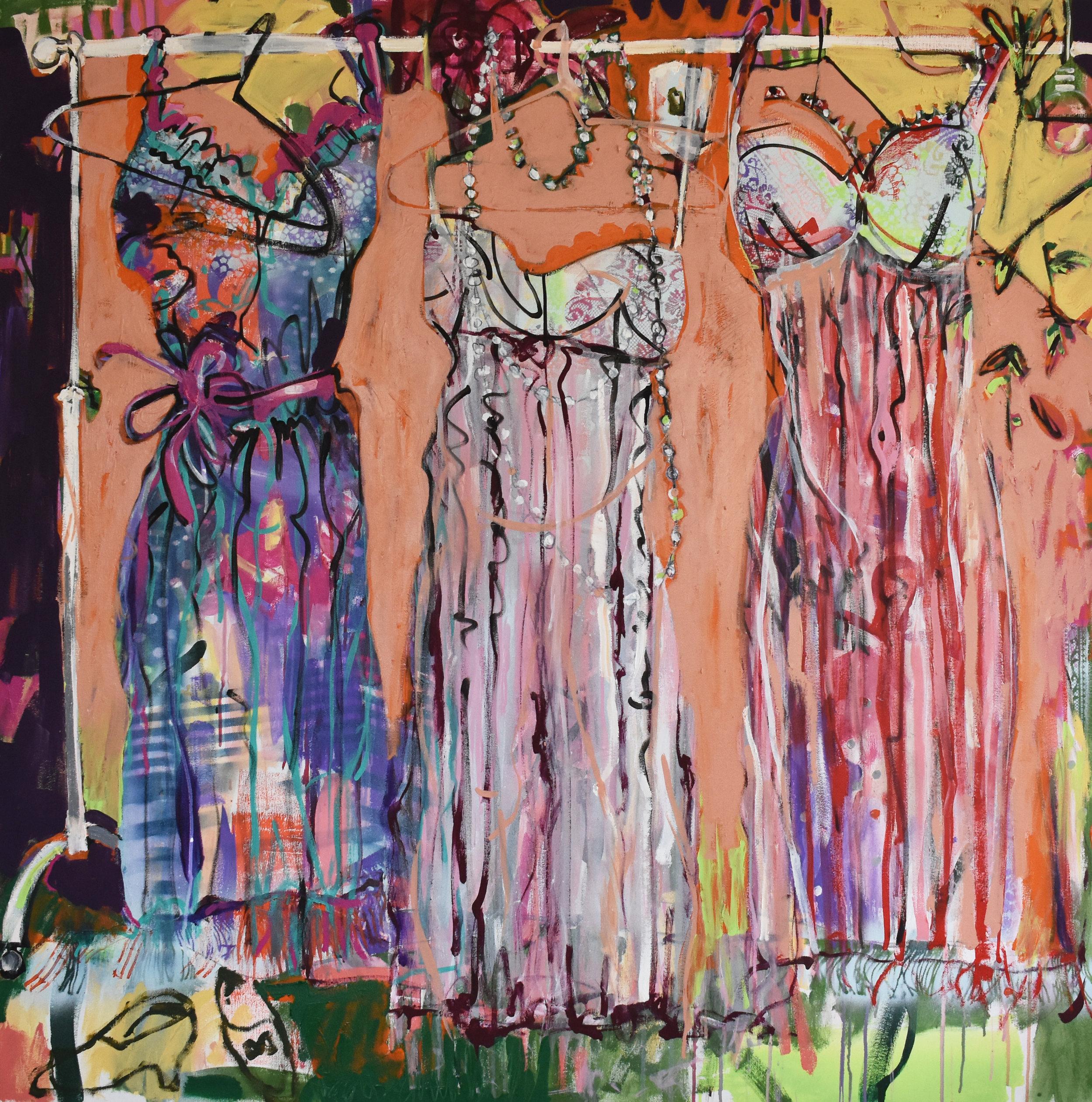 PICK ME. 2019. Acrylic on canvas. 140 x 140cm  Close ups of DRESS ME