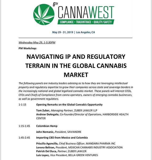 Very excited to participate as a panelist at the 6th annual #CannaWest Summit of 2019. I will be talking about the international climate of operating a cannabis business out of Colombia. See you all there 🙌 #cannabis