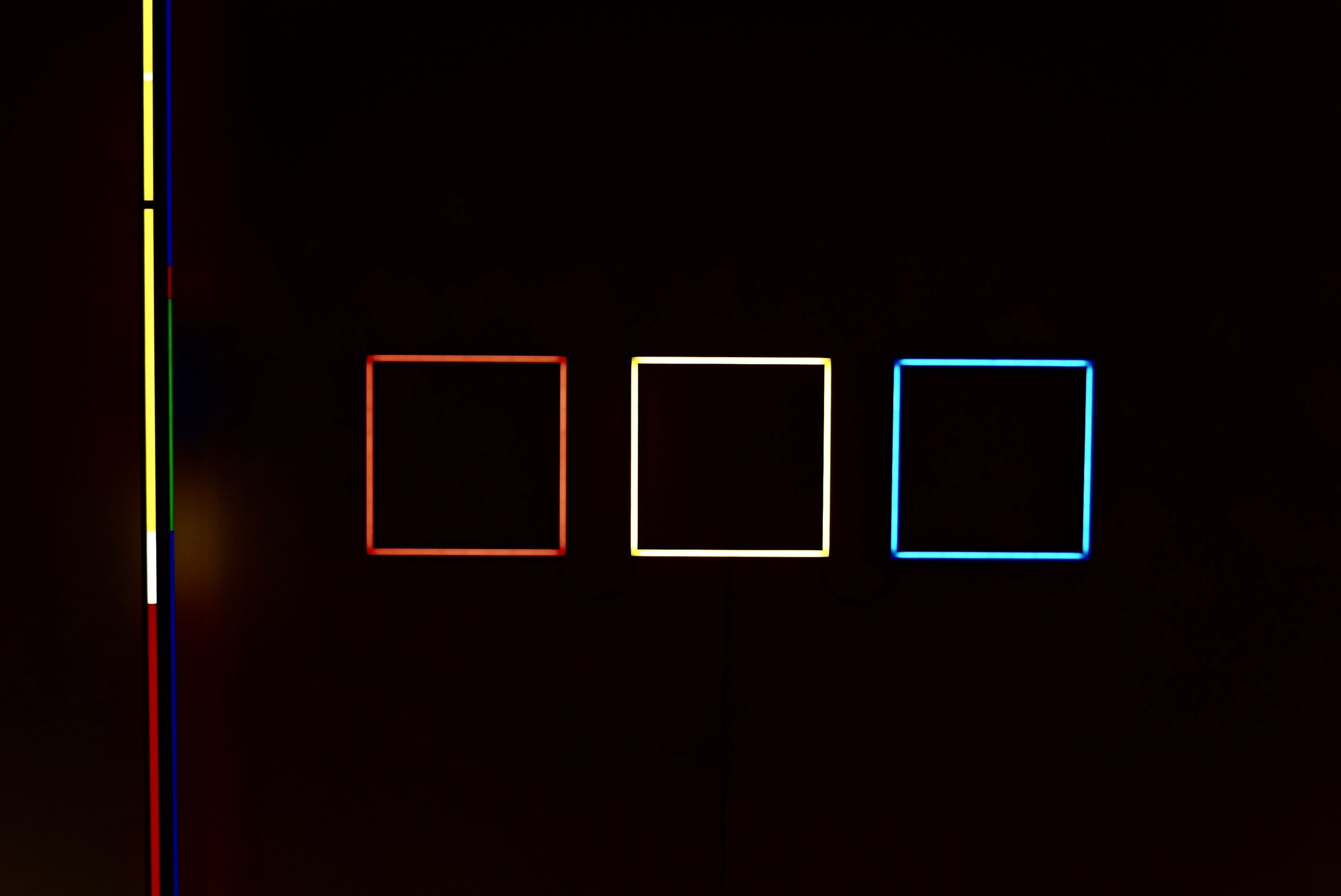 Frank Bauer,  Three LED squares,  2014 .  Image courtesy of the artist.