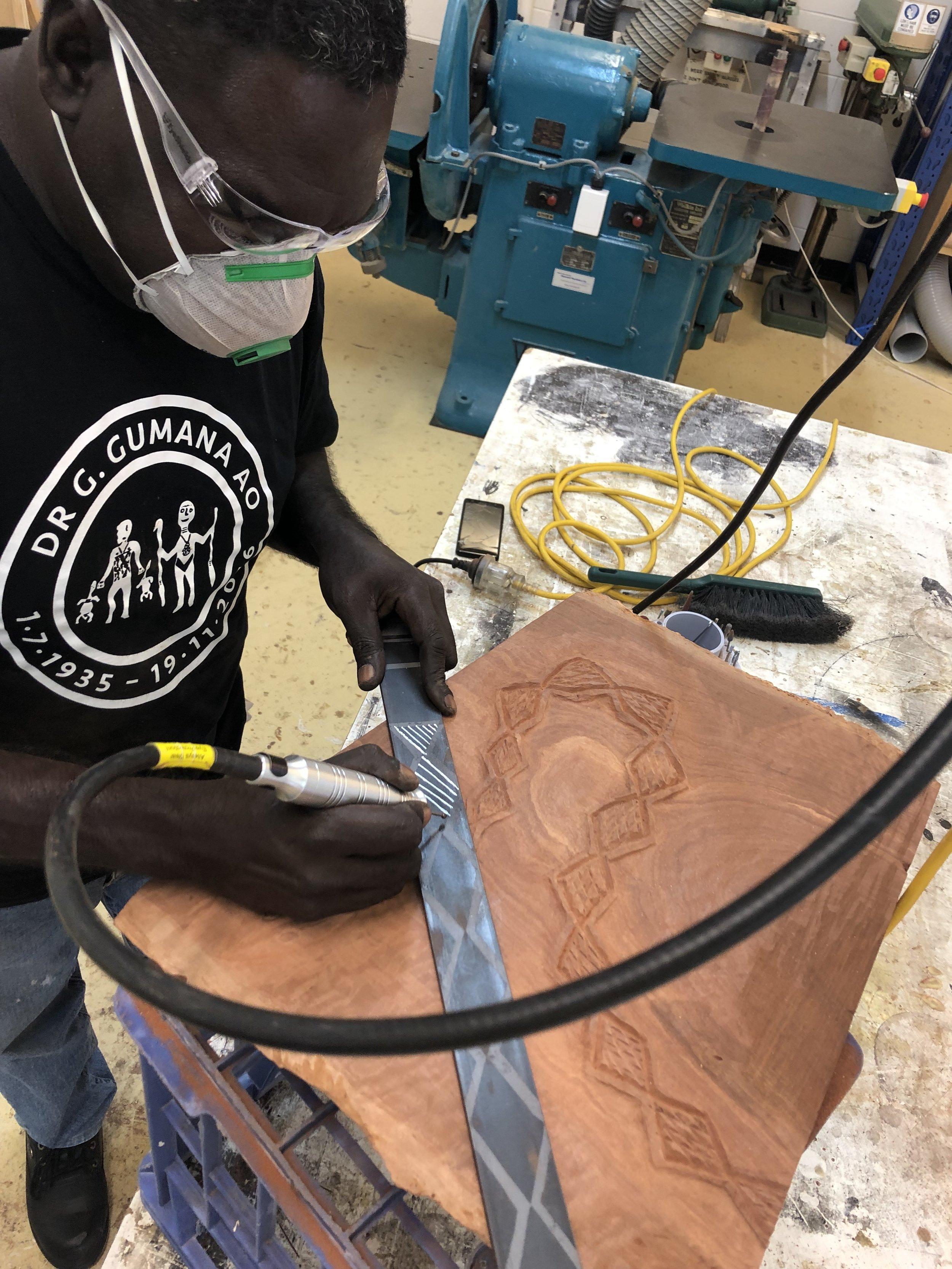 Test engraving on metal. Photo courtesy JamFactory.