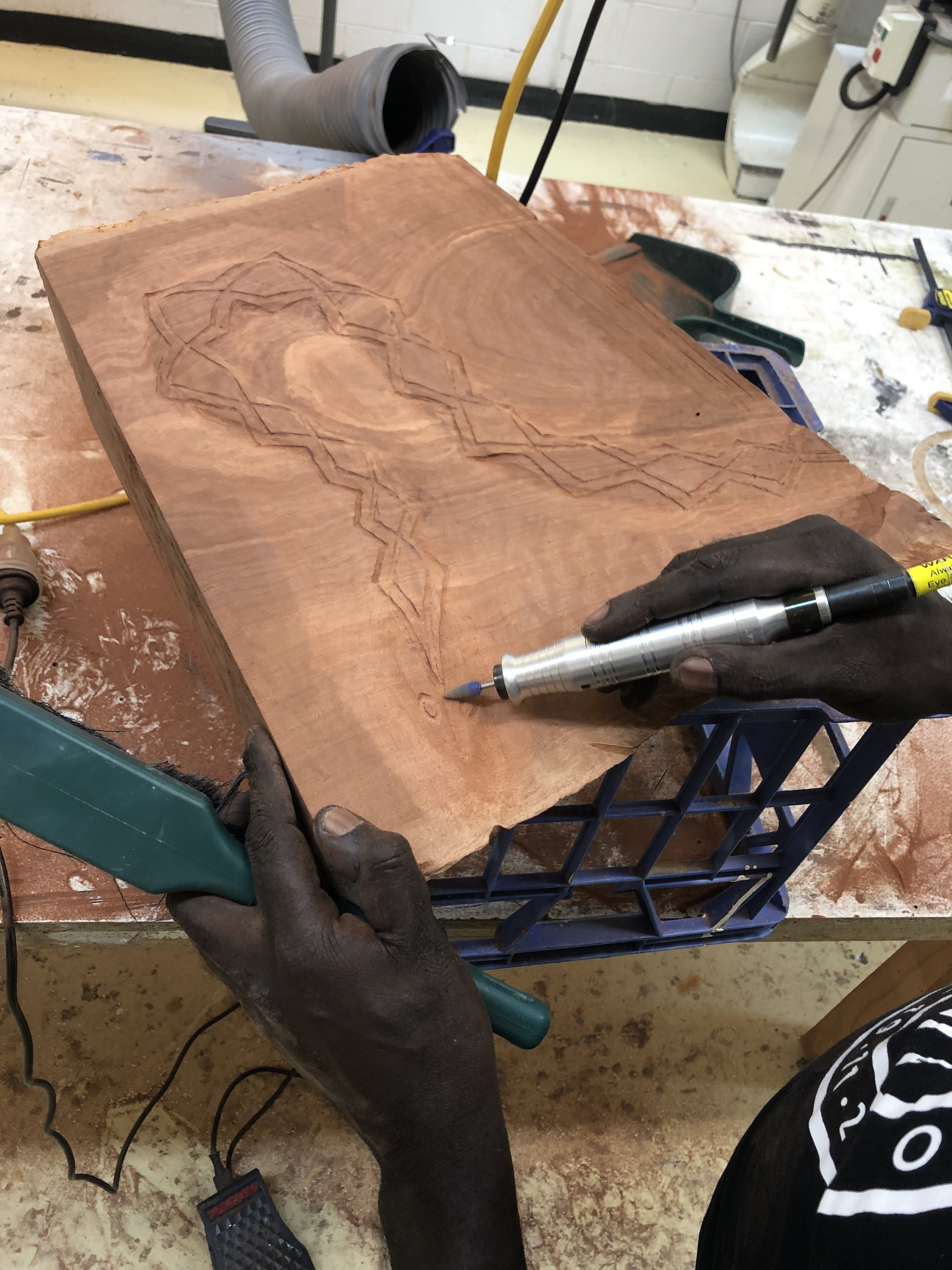 Test carving on River Red Gum. Photo courtesy JamFactory.