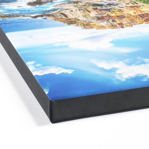 Photo of a canvas print stretched with a gallery wrap.