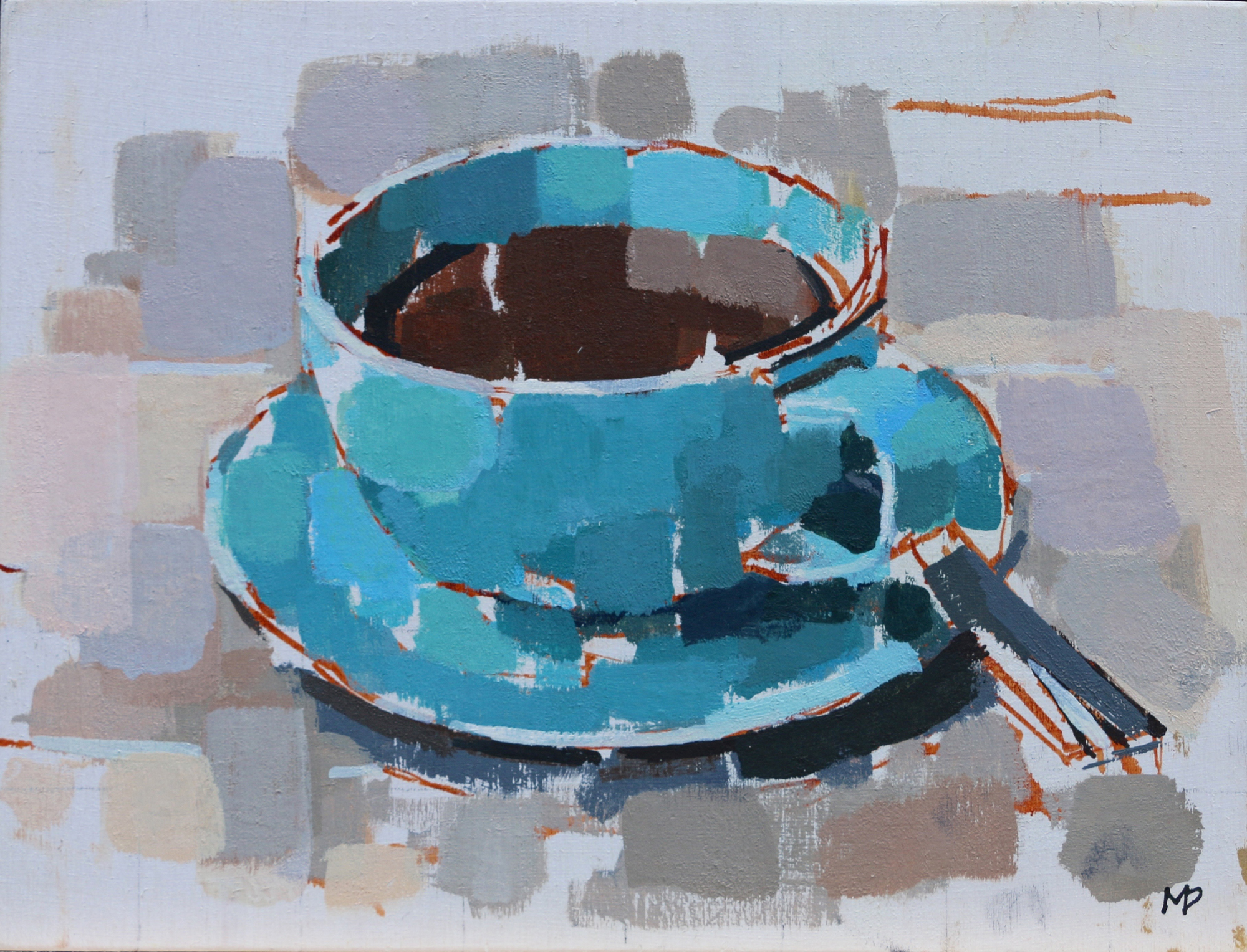 Cup of Coffee  Oil on Board  8 x 6 inches