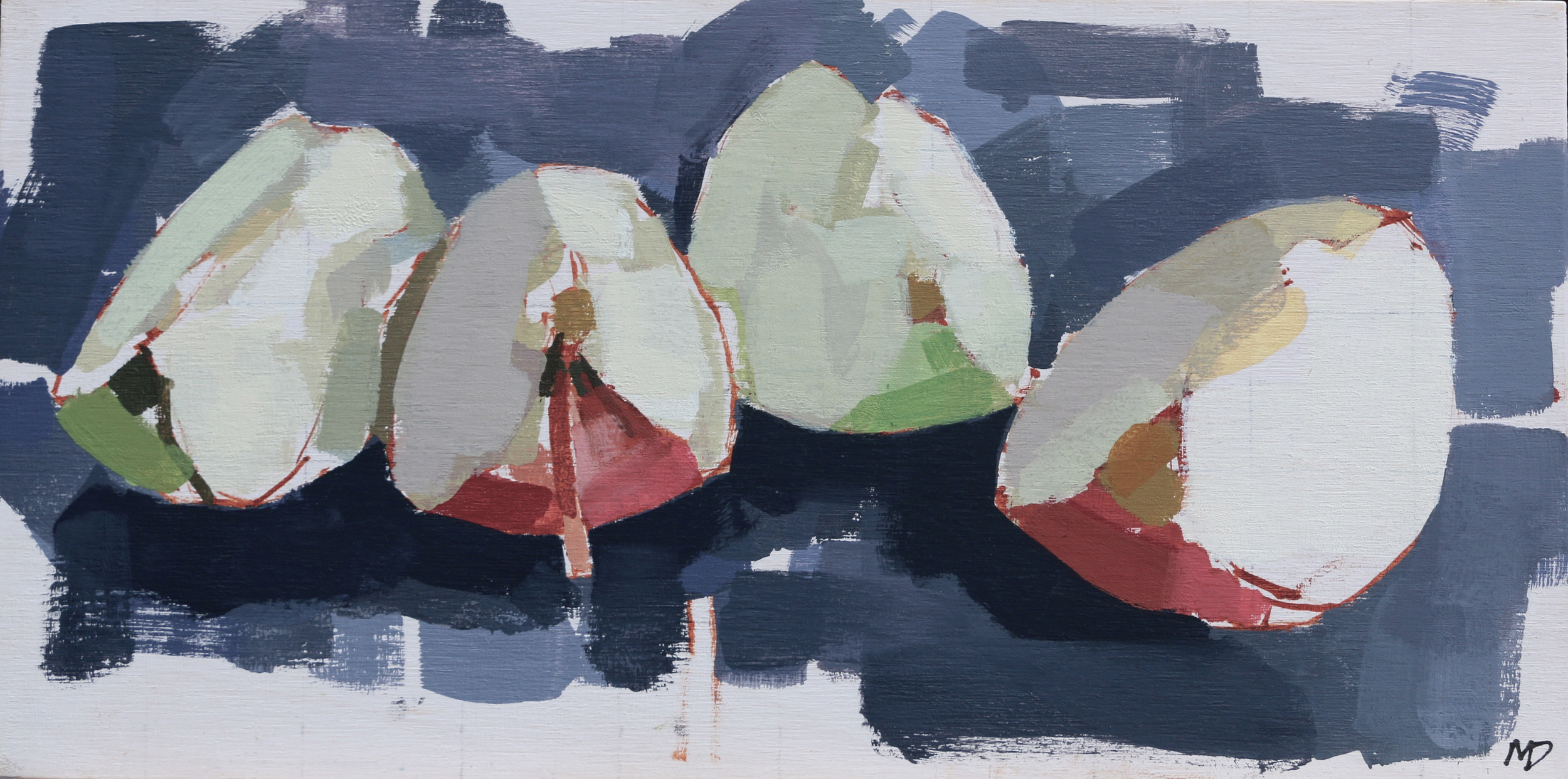 Apple Quarters  Oil on Board  10 x 5 inches