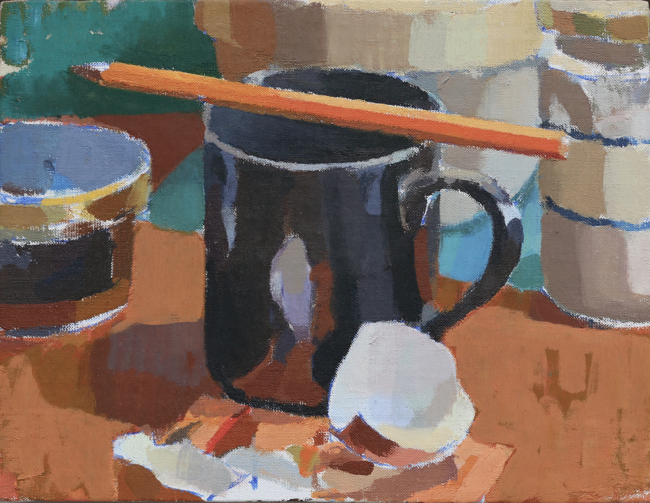 Black mug and Pencil  Oil on Canvas  10 x 8 inches
