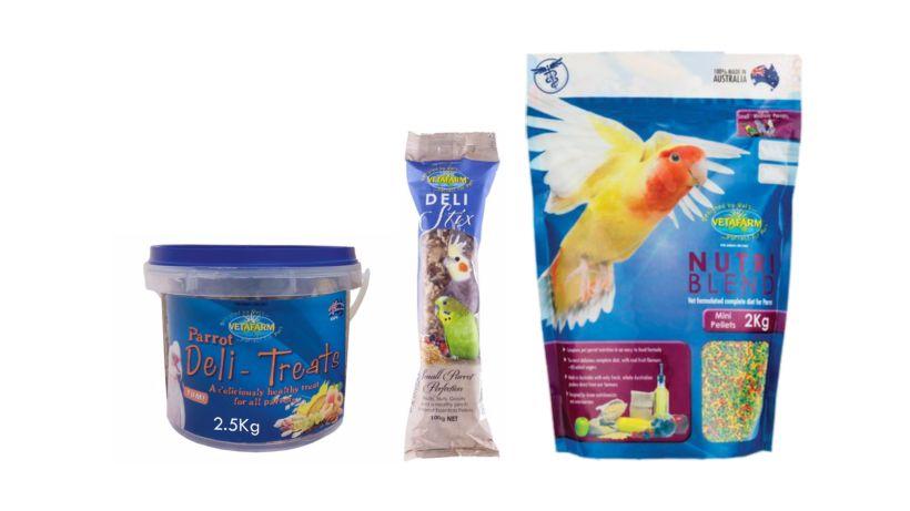 Vetafarm range of Pellet Staple food and treats.