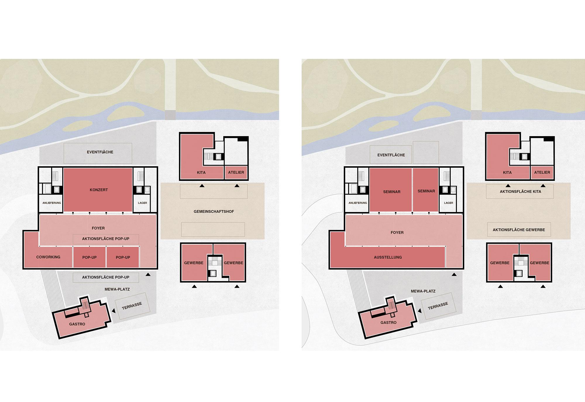 Flexibilität Nutzungsmodul Bühne - Szenario 1 und 2