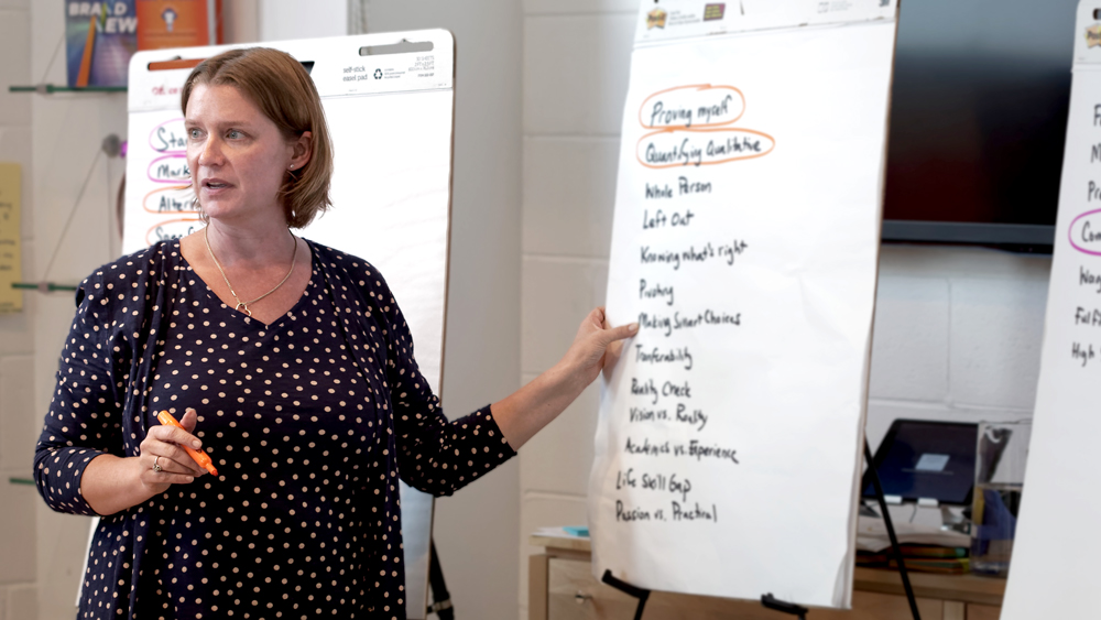 Cindy Malone facilitating a group discussion