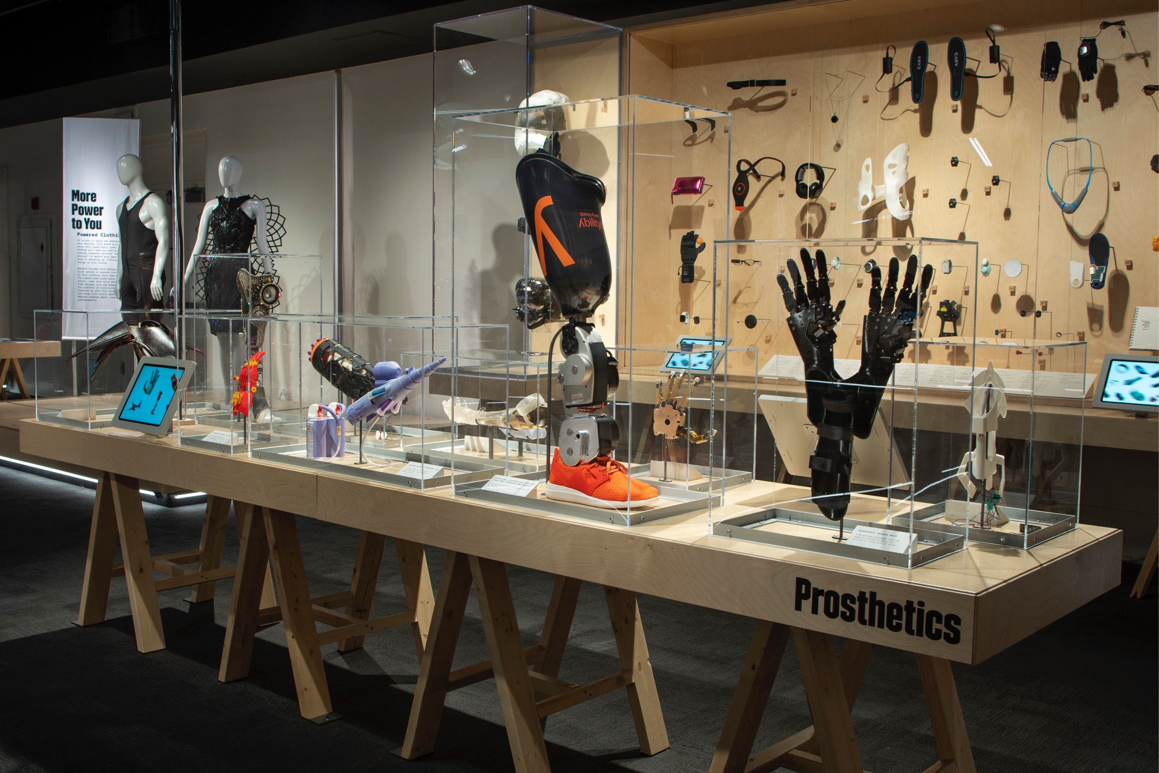 A gallery of prosthetics and prototypes to support the wearer's health and lifestyle. (JB Spector/Museum of Science and Industry, Chicago)