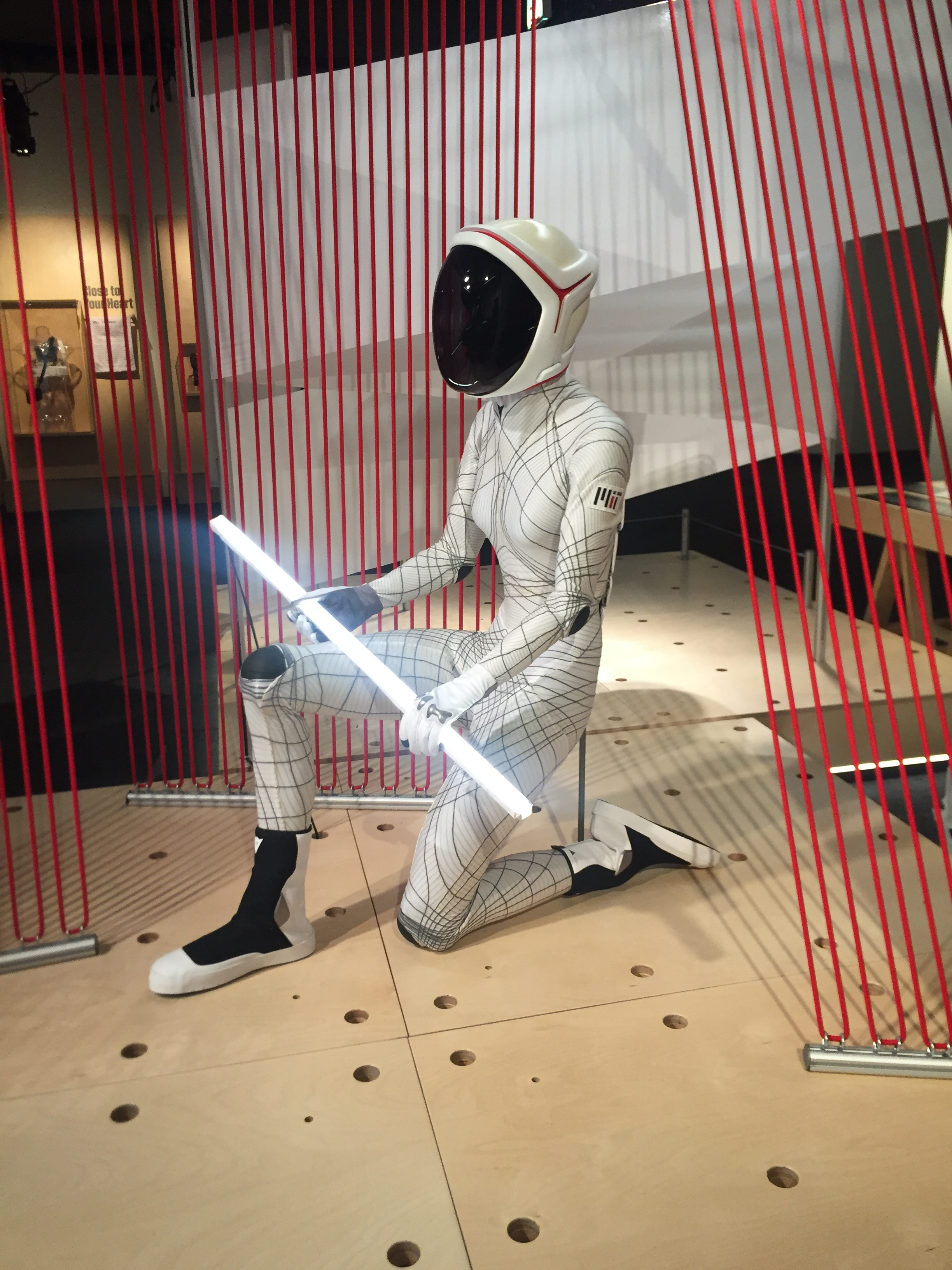 A prototype of a possible spacesuit: Dava Newman, Ph.D., created an active compression, flexible design that uses full body laser scans to create a custom fitting suit.