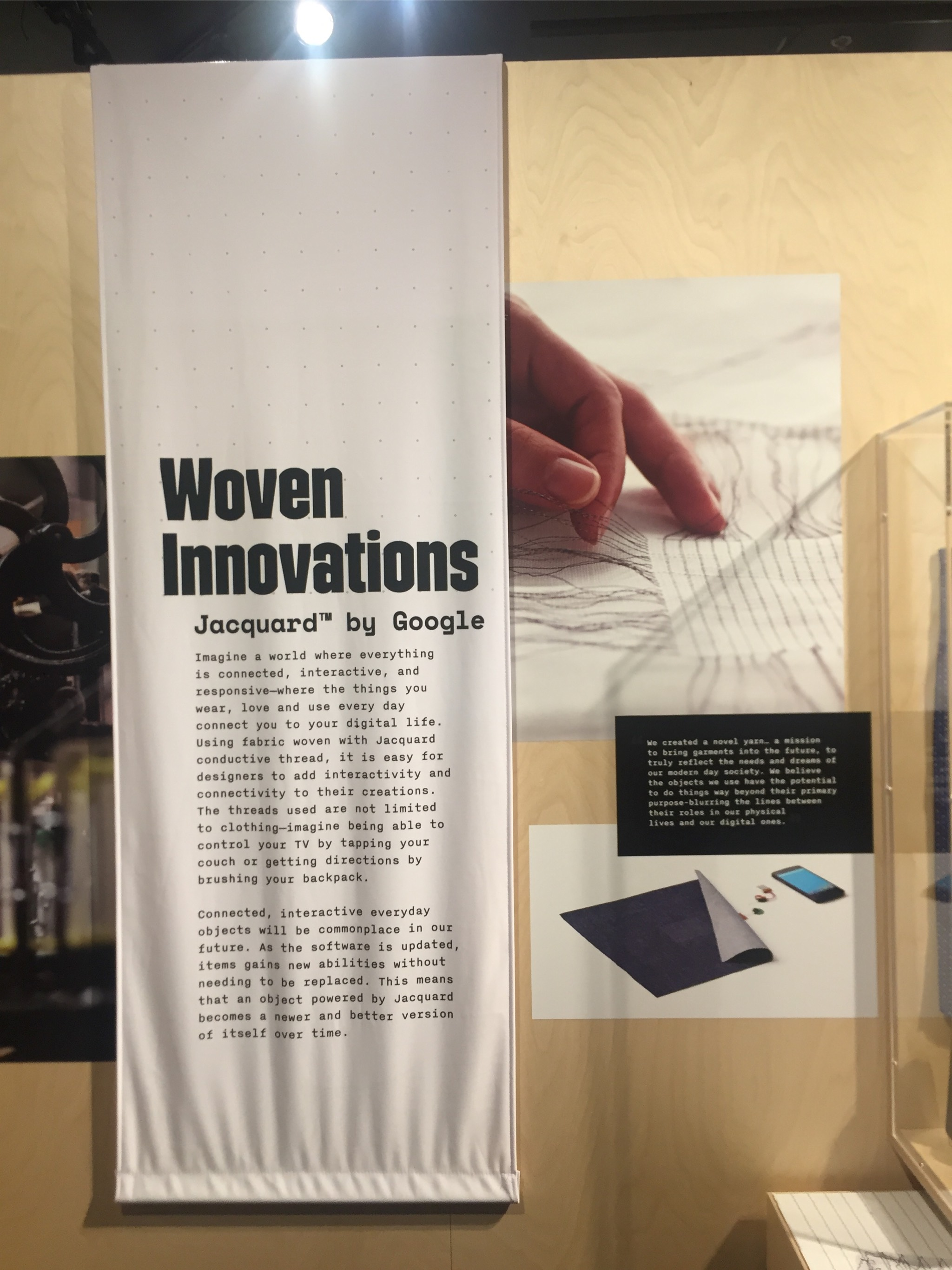 Jacquard by Google integrates sensor grids into fabric, creating interactive surfaces that function as a touchscreen.