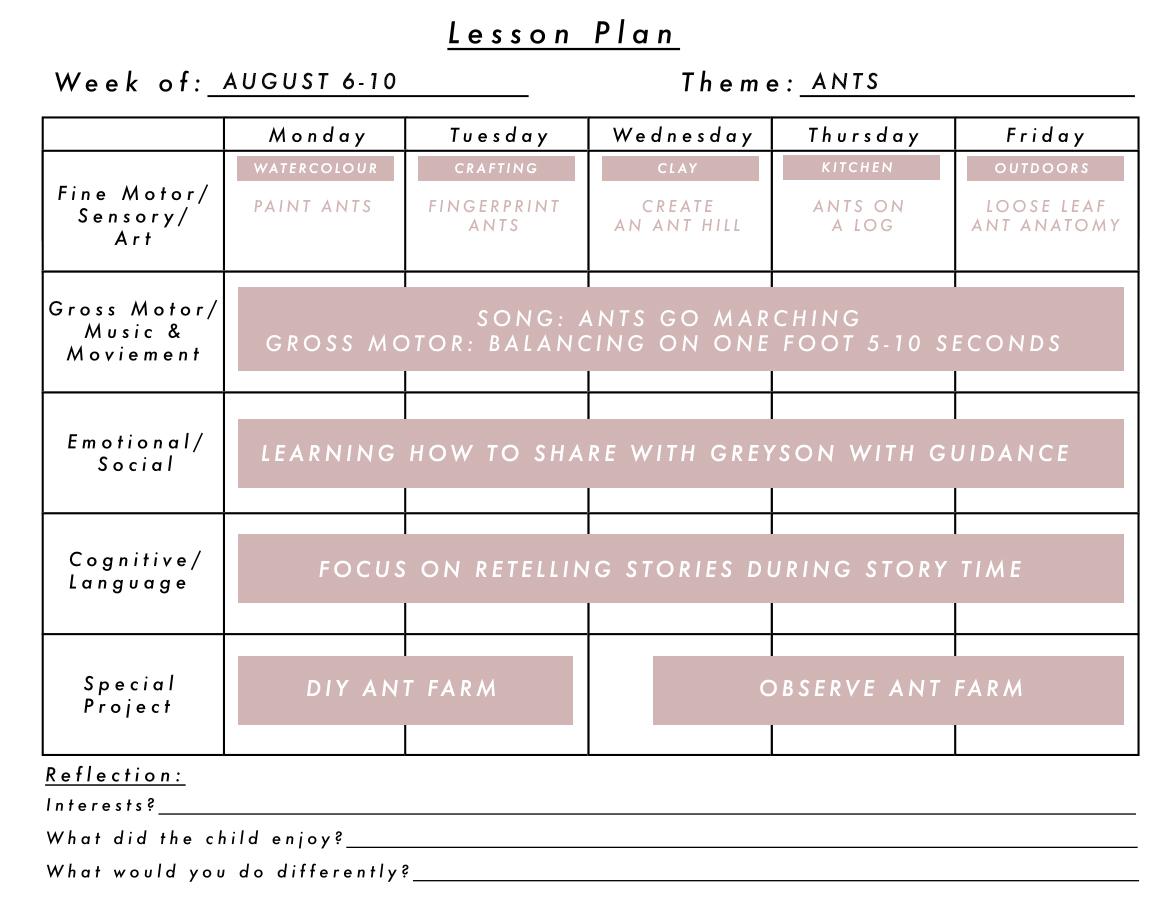 August Lesson Plan