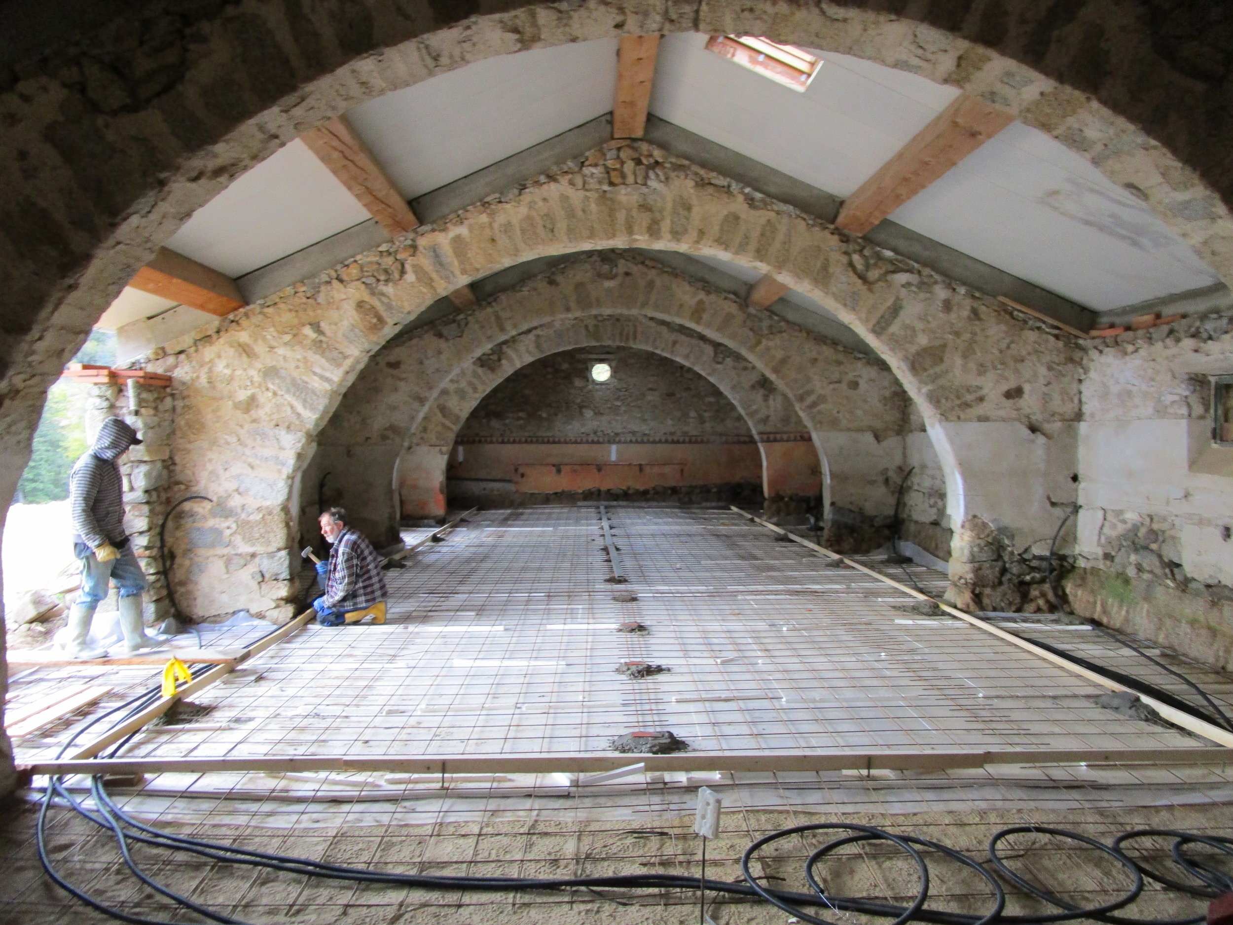 Barn, concrete floor being laid