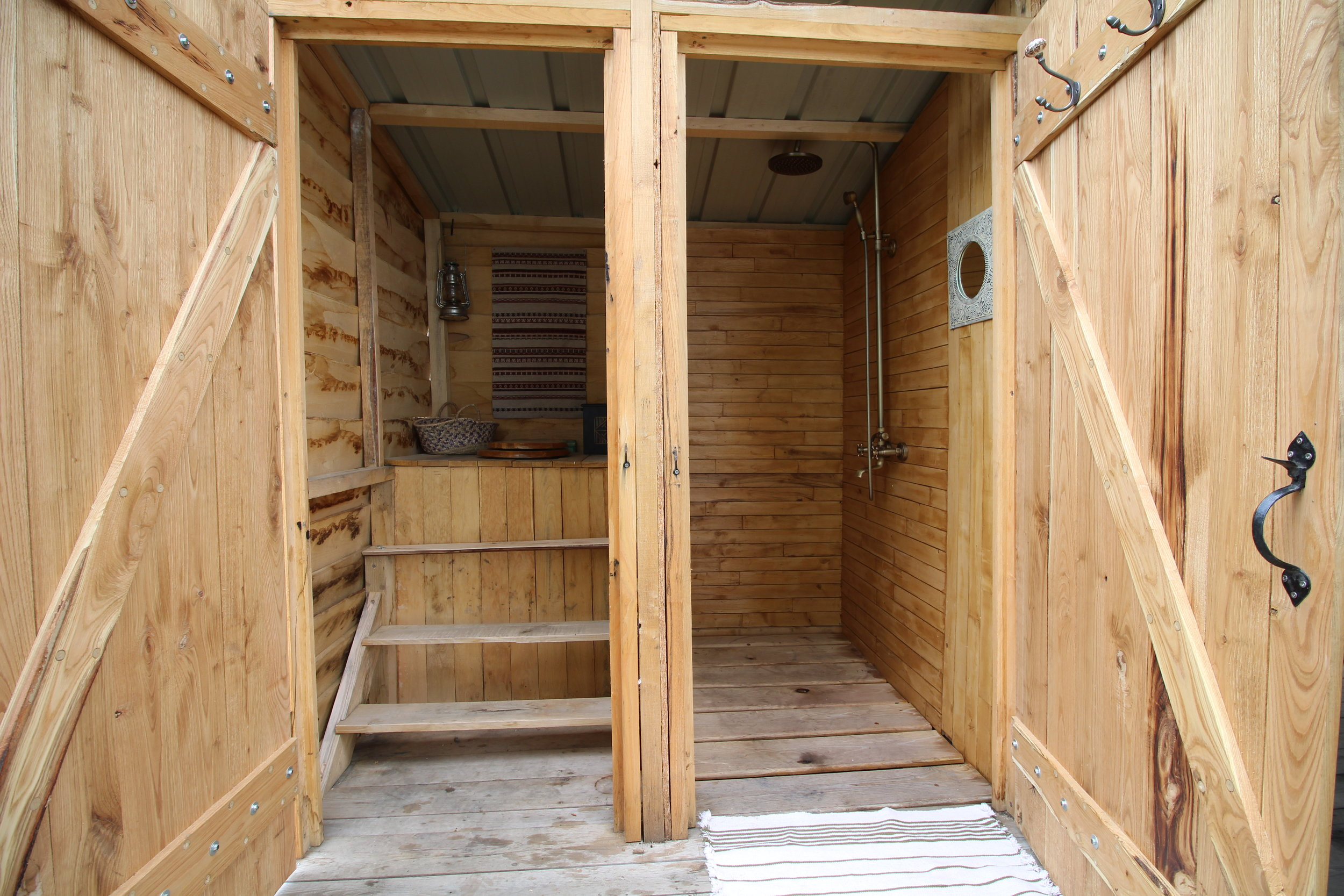 Yurt compost toilet and shower