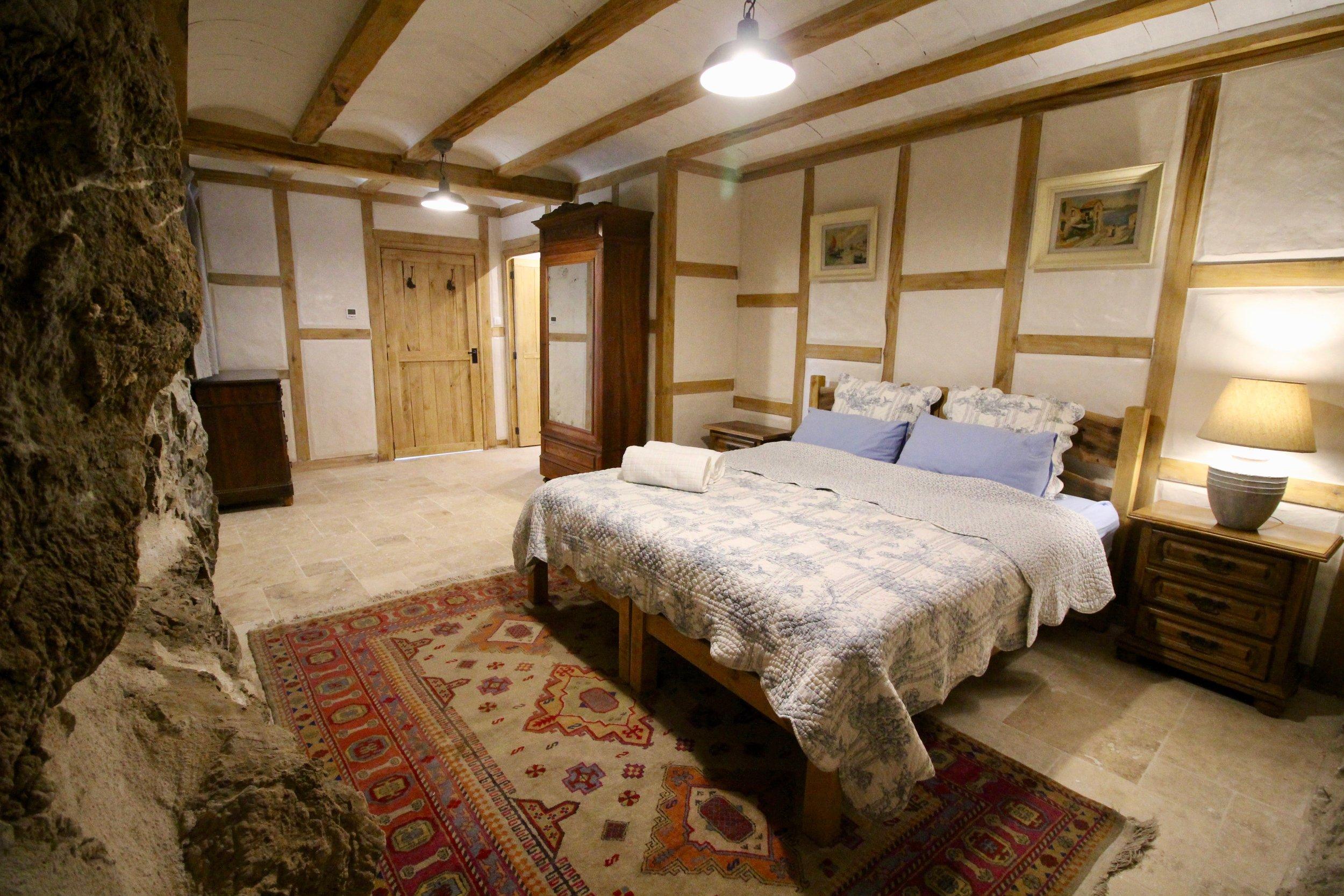 Doors, walls, ceiling caps, bed