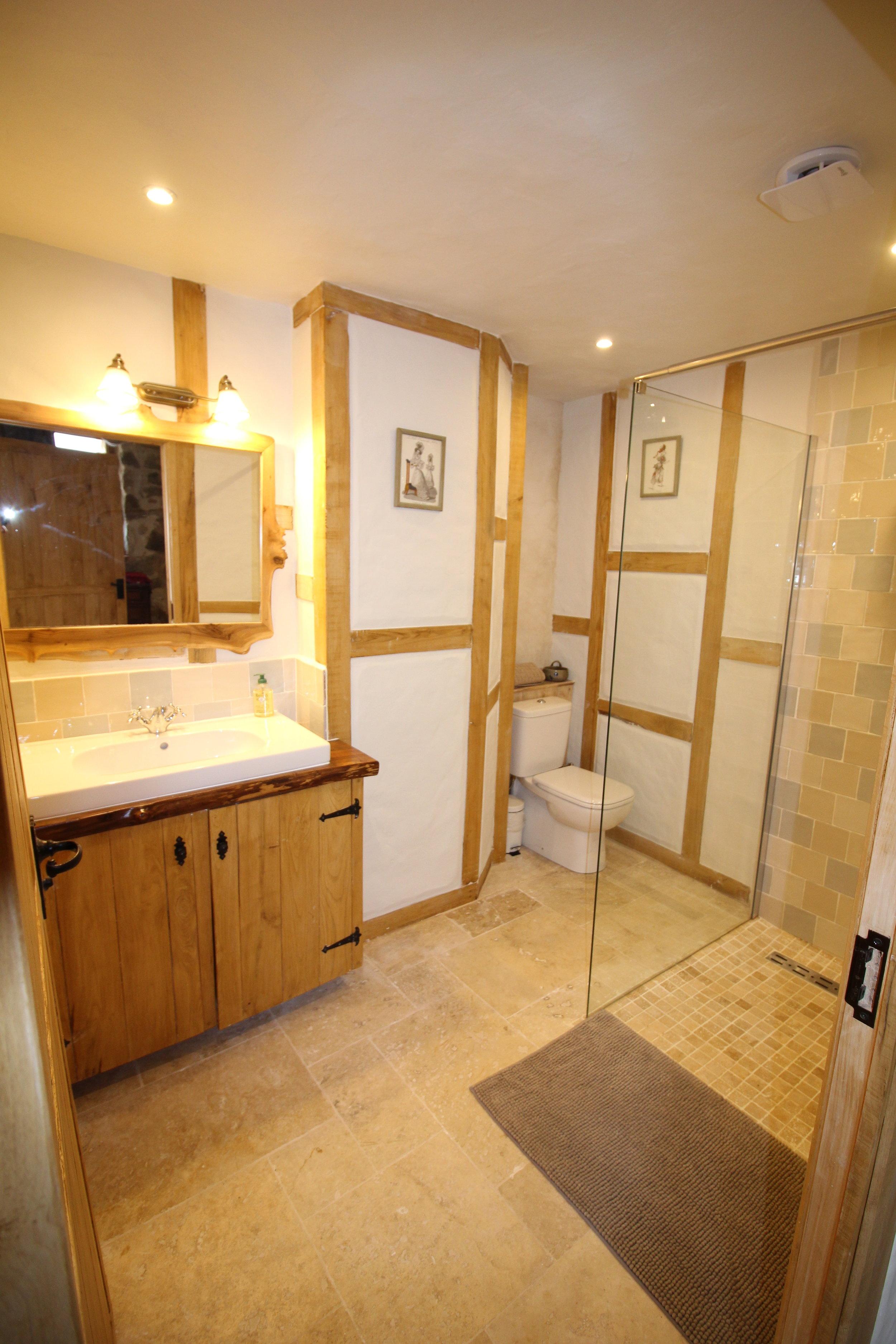 Bathroom cupboard, washbasin surround, mirror and walls