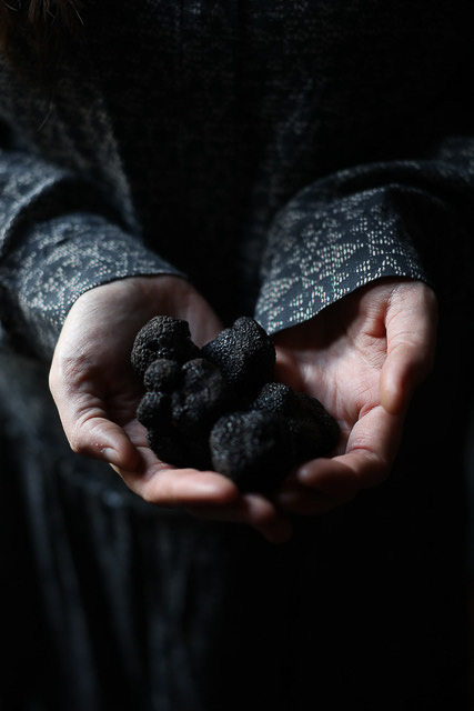 Aimee Twigger kindly posing for a photo with our truffle bounty, credit Ruth Ribeaucourt