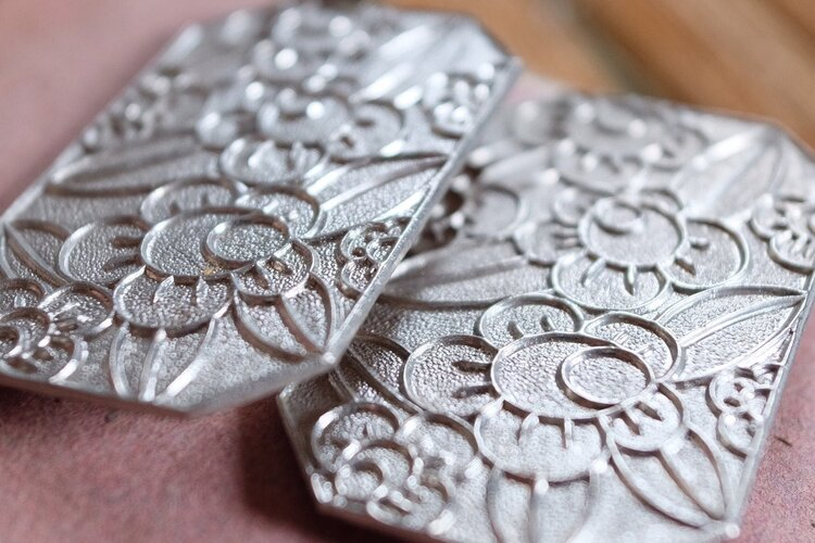 Antique Vintage Silver Moire Patterned Paper Earring Box 1900-1920/'s