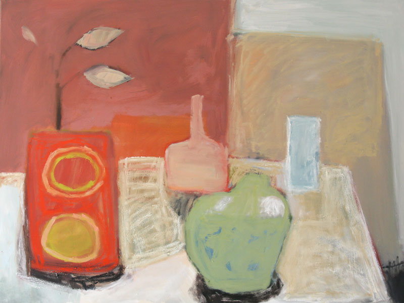 Washed out still life of pots on table. Oil on canvas