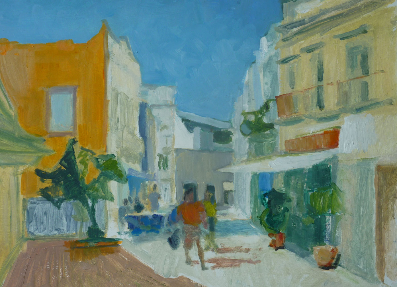 Olhao Old Town. Painting by Iona Stern