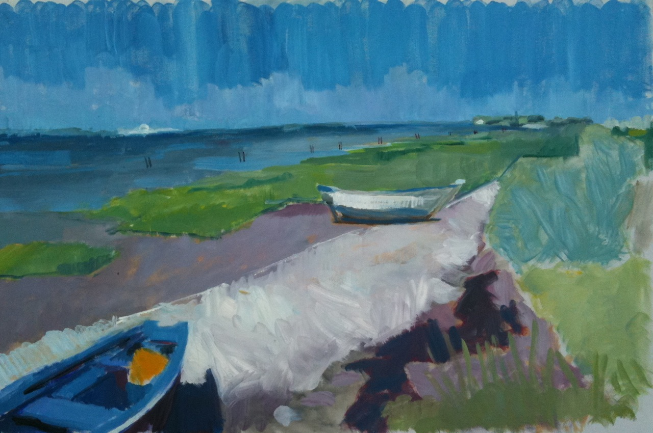 Waiting for the approaching tide. Painting by Iona Stern