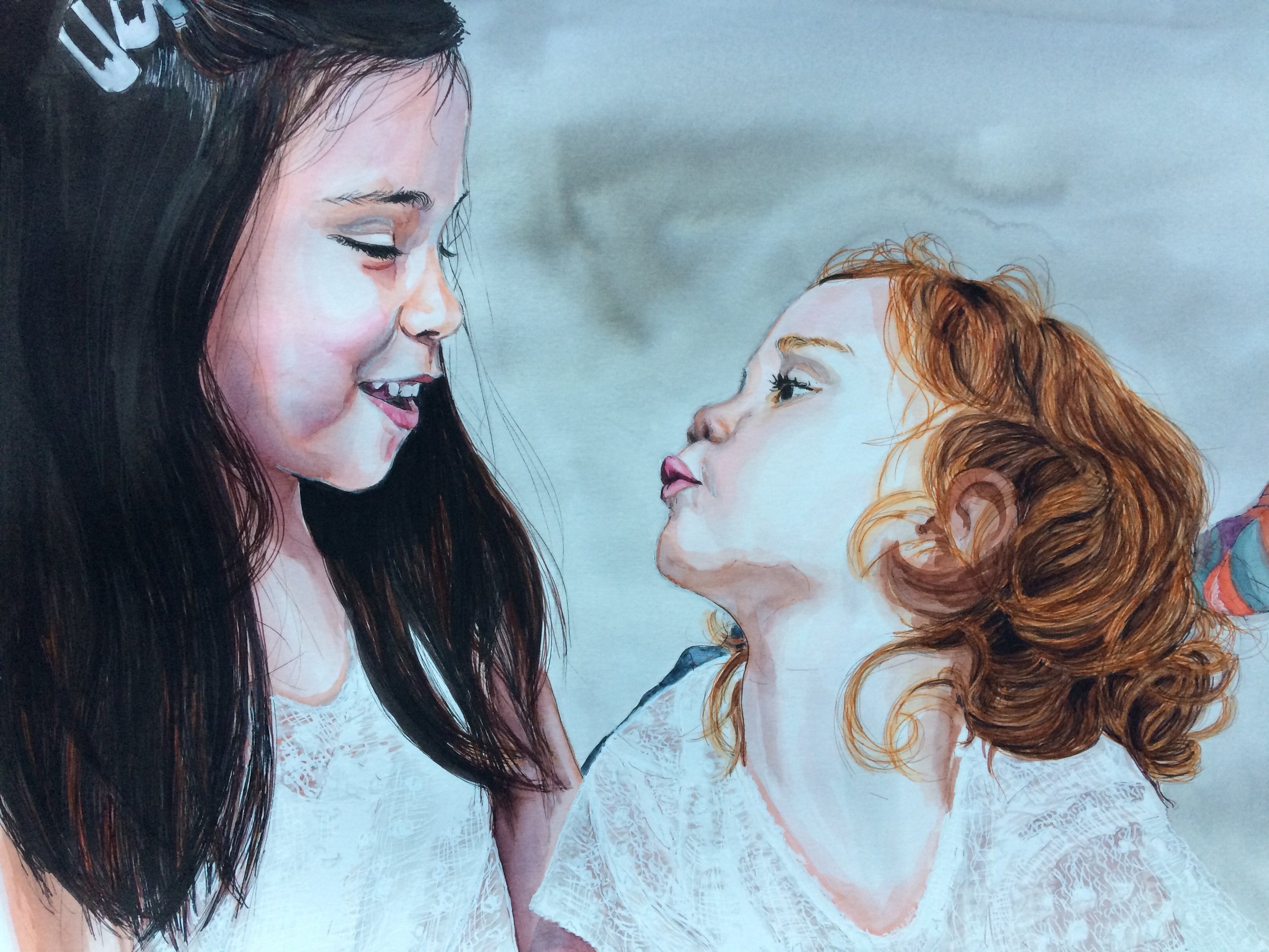 Two Lovely Young Ladies :), Watercolor on Canson Illustration Paper (250g/m2), A3 (42x29,7 cm). Sold. Commissioned work. (Unavailable.)