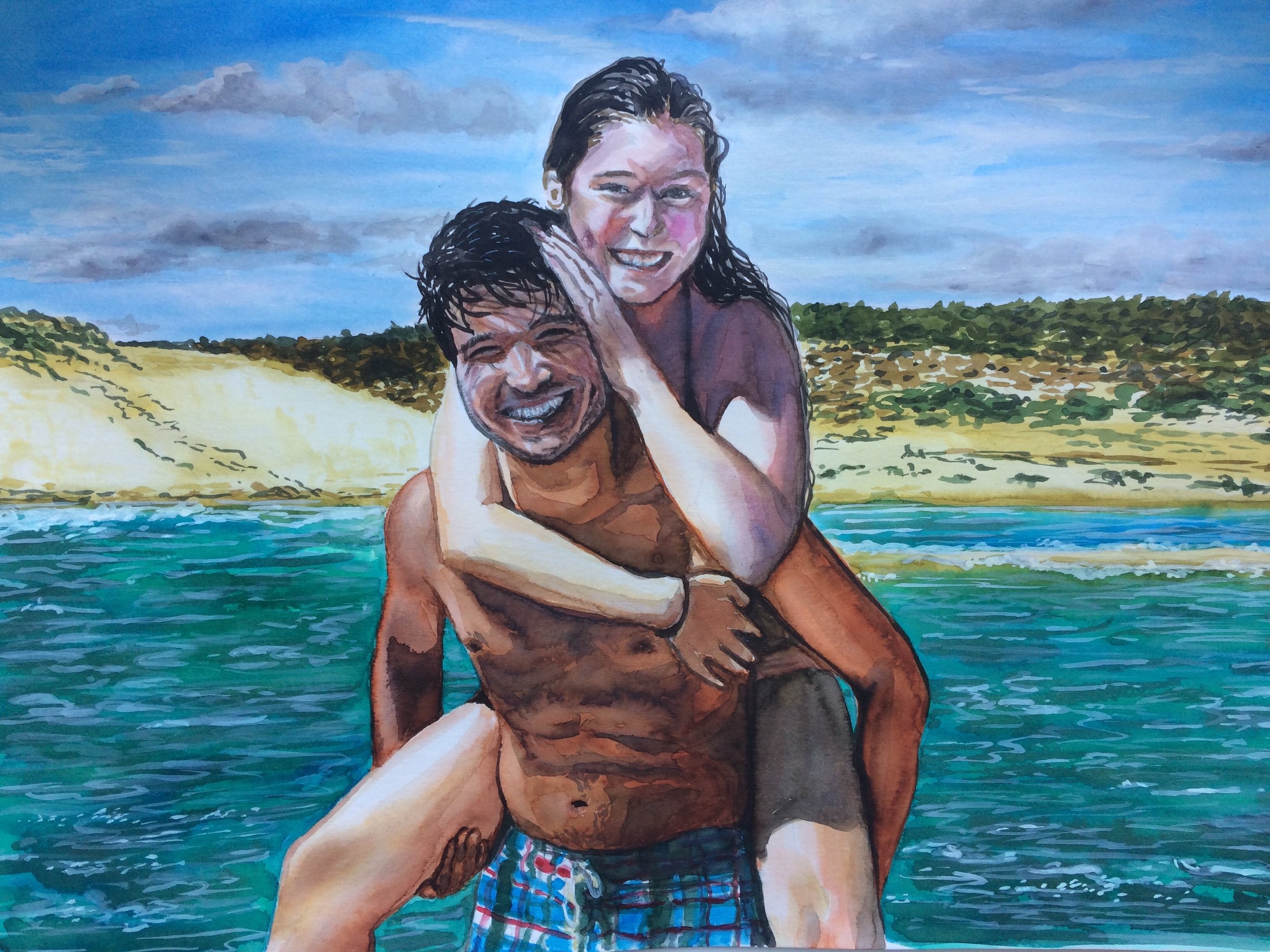 Young couple at leisure time. Watercolor on Canson Illustration Paper (250g/m2), A3 (42x29,7 cm). Sold. Commissioned work. (Unavailable.)