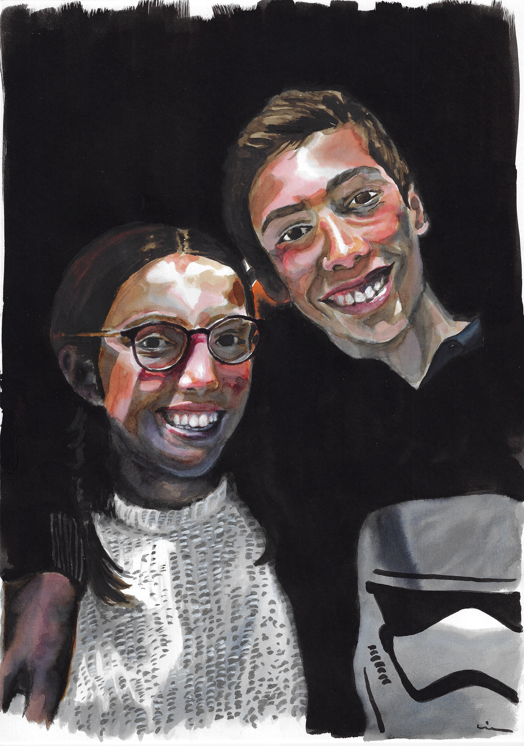 Sweet siblings. Watercolors on Canson Illustration Paper (250g/m2), A3 (42x29,7 cm). Sold. Commissioned work.  (Unavailable.)