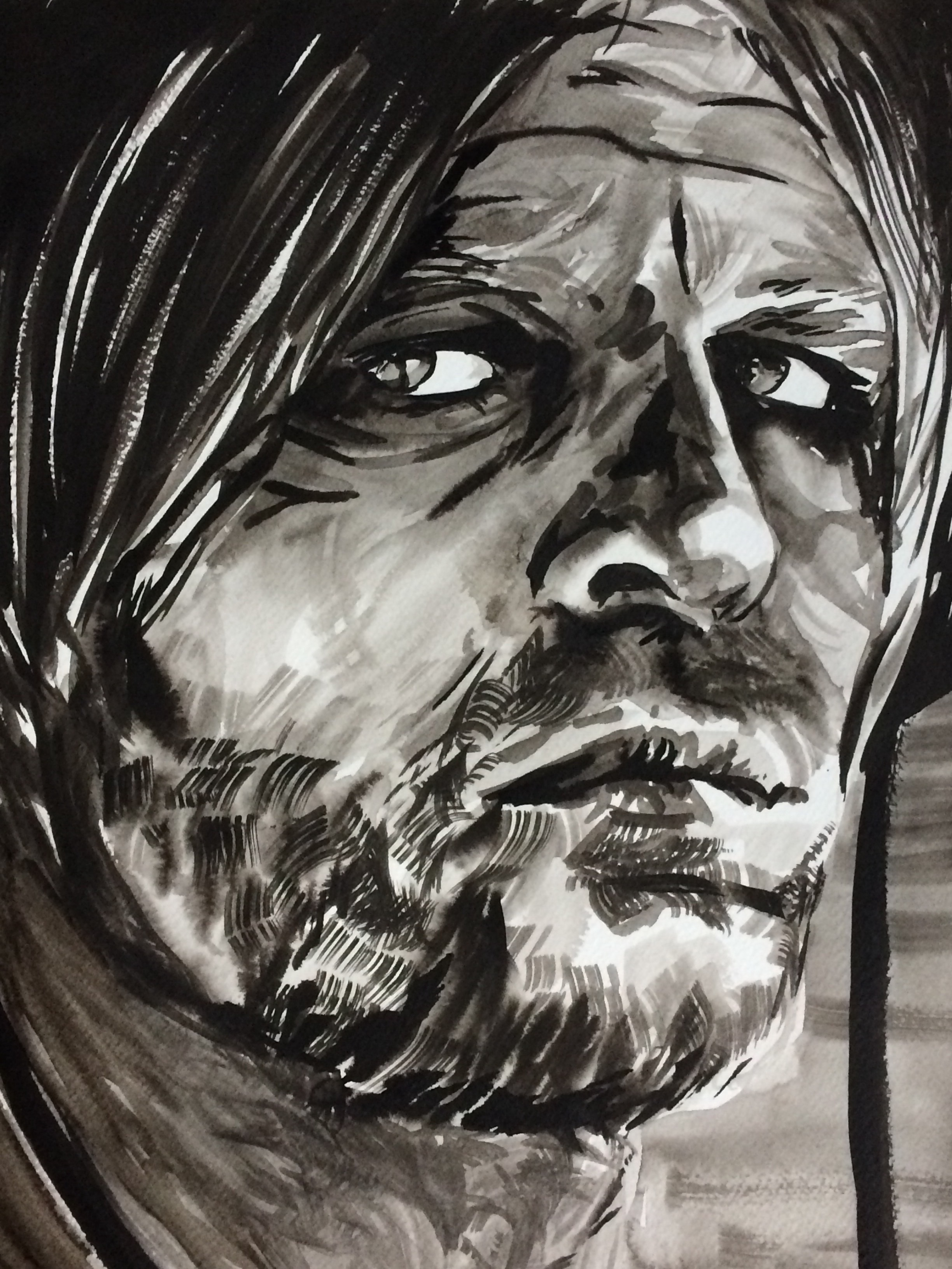 Klaus. Indian Ink on watercolor paper, (230g/m2), A3 (42x29,7 cm). Available.