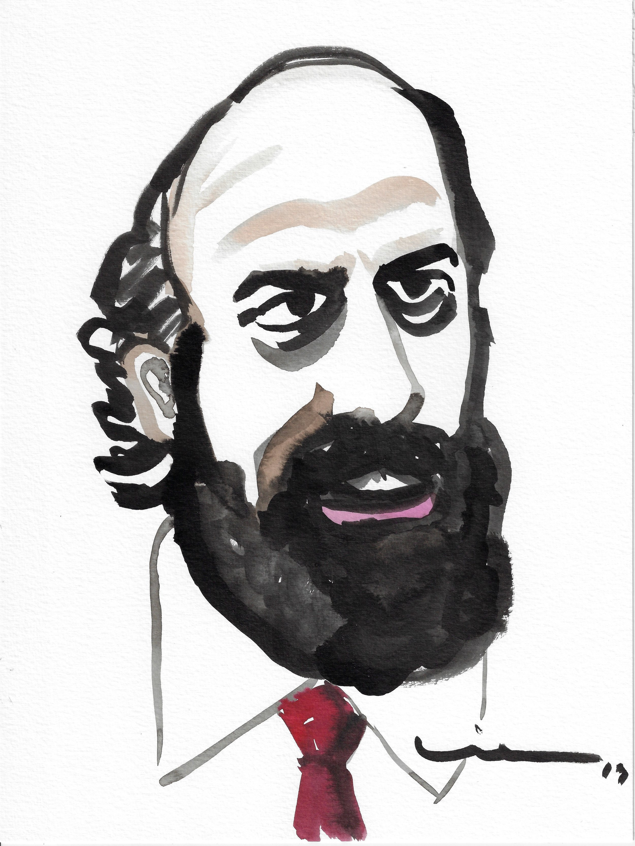 Martin, Brett Gelman's character on Fleabag, Phoebe Waller-Bridge's series - Ink and watercolors on paper.