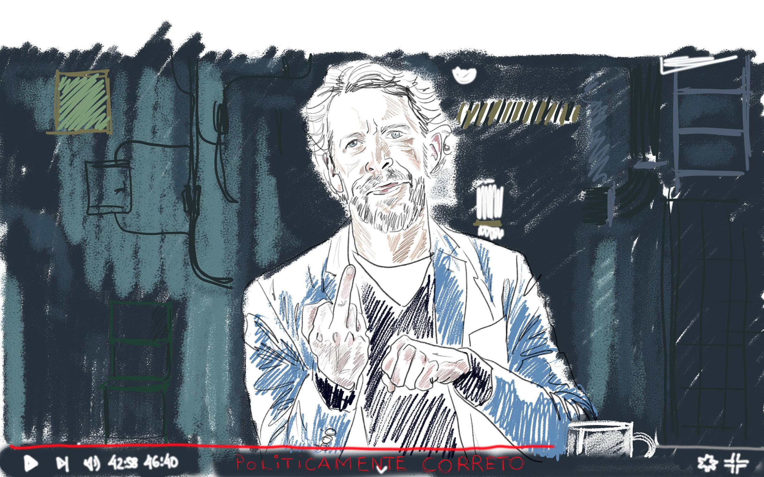 João Quadros, humorist and screenwriter, on his web show Politicamente Correto