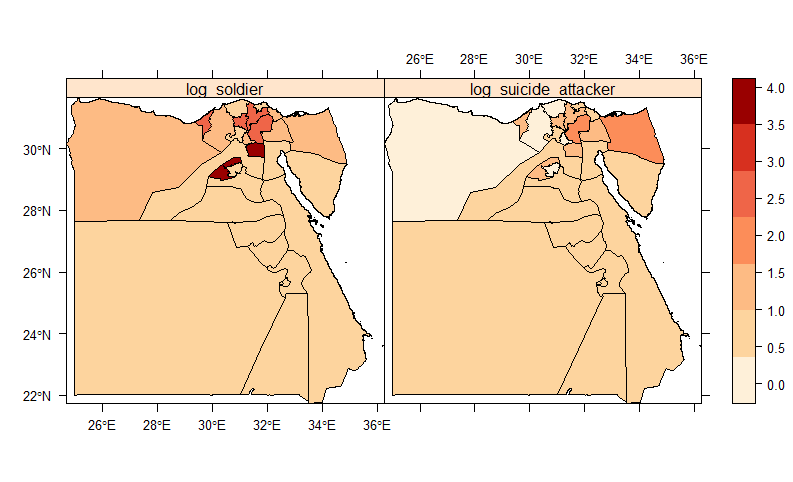 The log count by home communties of suicide fighters and soldiers for Islamic State combatants. At the subnational unit, there is wide variation in the home provinces of fighters.