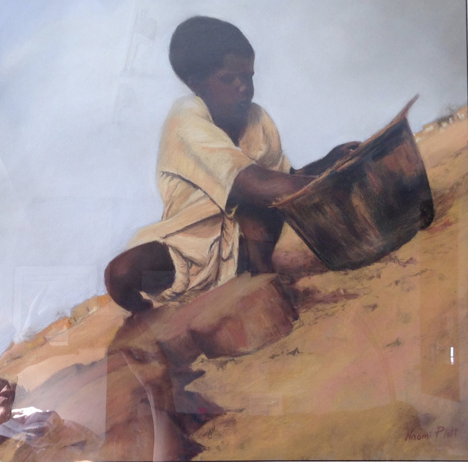 Pastels_Playing with sand_19x19_23x23 wf_500.jpg