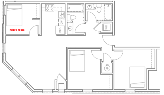 Micro-room in Three Bedroom - Starting at $599 for the 2019/2020 year