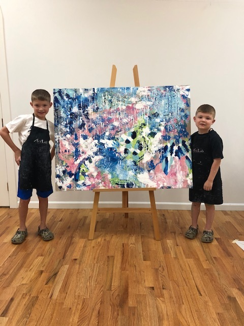 "Be A Part of the Art! - ""Art evokes the mystery without which the world would not exist"" -Rene Magritte-McCoy,8 & Davis 5 with their custom painting."