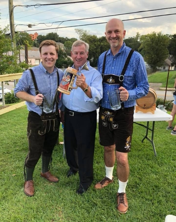 Adam Warnke (L) and James Weddle (R) with Mayor Todd Strange - This picture was from opening night of Oktoberfest 2018 at the Goat Haus and the photo represents a culmination of a four year effort to fully launch the Goat Haus and the creative/entrepreneurial community that exists in Montgomery.