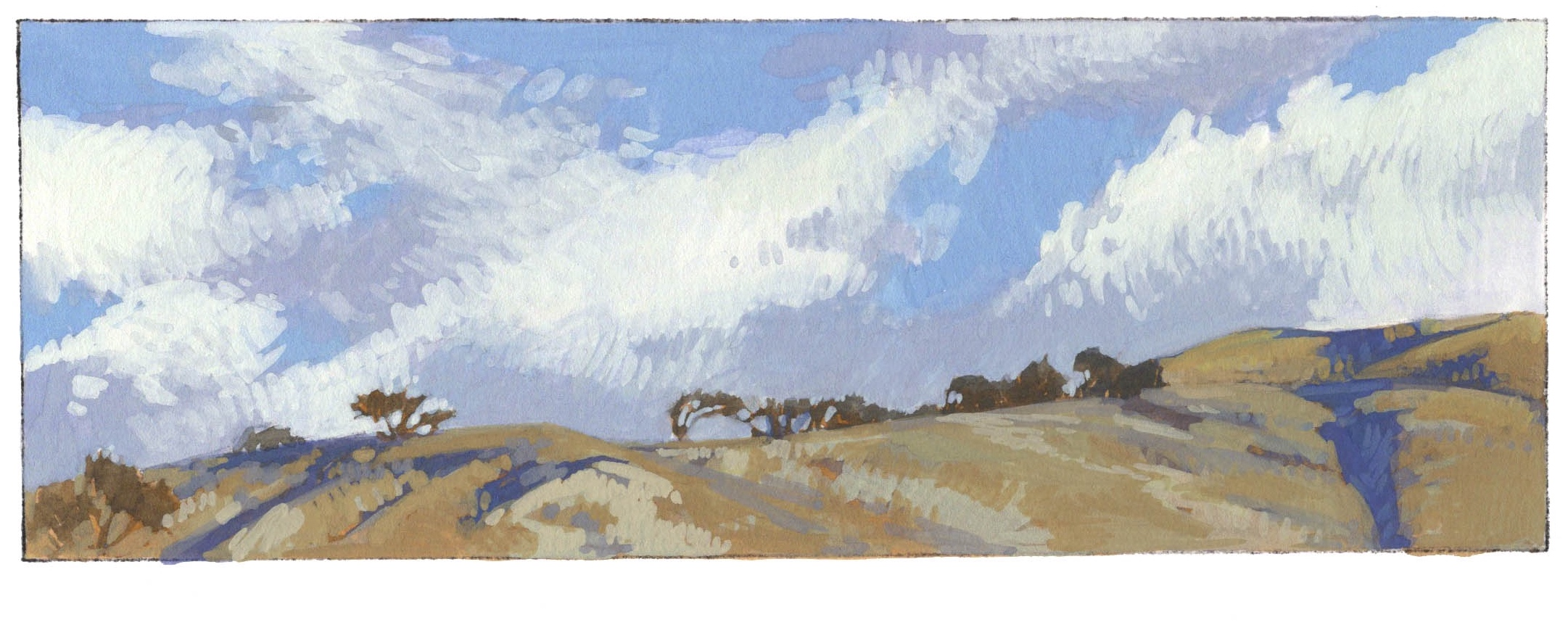 "White Rock at start of the Rey Fire, 2016 2.5x7"" Gouache on Arches Board"