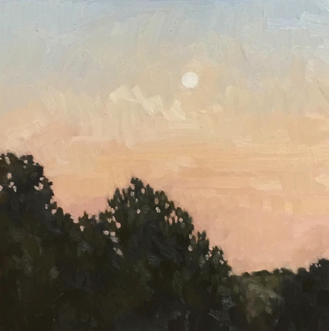 """Moonset 12x12"""" oil on birch panel"""