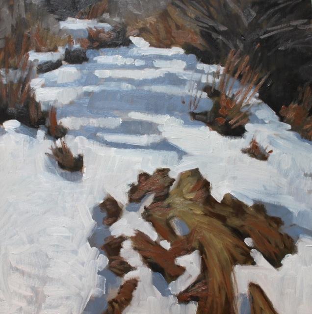 "Snowy Path  12x12"" oil on birch panel ©N Strasburg"