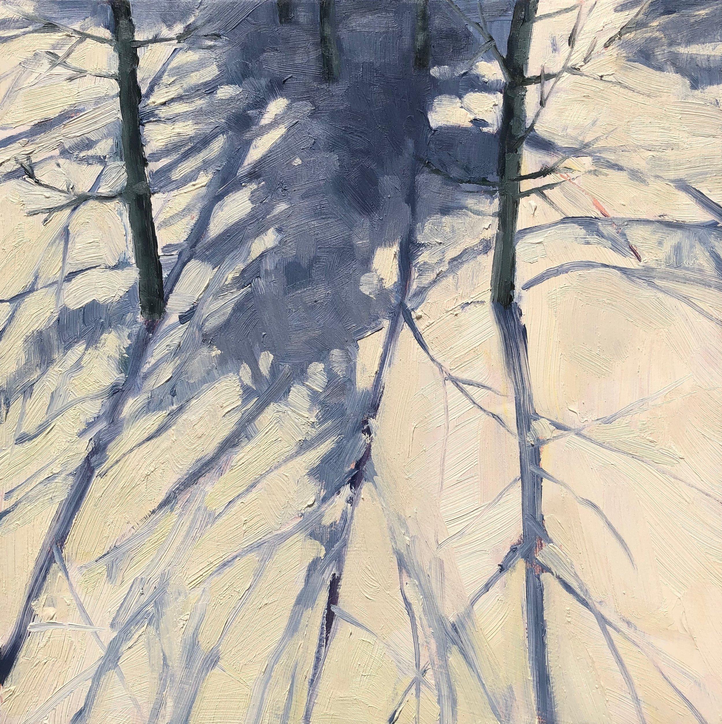 "Winter Light. 10x10"" oil on birch panel ©N Strasburg"