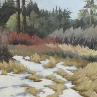 """Early Spring Snow 48x24"""" oil on birch panel"""
